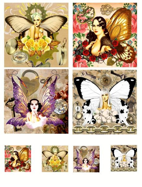 "steampunk pinup girl fairies sheet digital download collage sheet printable 3.8"" x 3.8 and 1.5 inch squares fairy graphics image downloads"