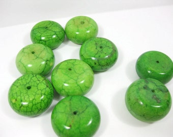 24mm Green Howlite Thick Abacus Beads Set of 2