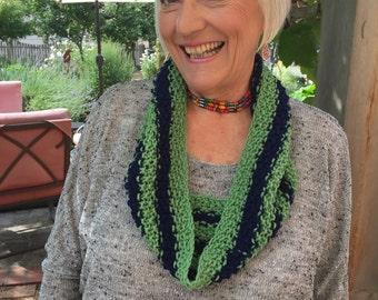 seattle cowl, handknit, hawks, blue, green
