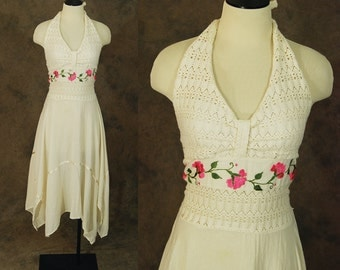 vintage Mexican Halter Dress - 1970s Embroidered Handkerchief Hem Dress - 70s Boho White Cotton Sun Dress Sz S M