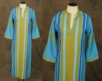 vintage 60s Greek Caftan - Blue and Yellow Embroidered Maxi Dress -1960s Boho Ethnic Hippie Festival Dress Sz XS S