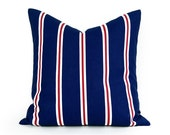Blue Patio Pillows, Blue Striped Patio Pillow Covers, Outside Cushion Covers, Beach Boat or Pool Decorative Throw Pillows 18x18