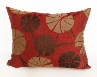 Orange Brown Sage Lumbar Pillow, Leaves Pillow Cover, 14x20, Oblong Sofa Pillow, Brick Red Orange, Sage Gold, Modern Home Decor, PILLOW SALE