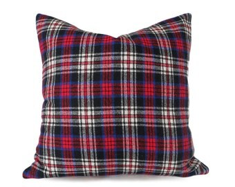 Red Blue Plaid Pillows, Mens Wool Plaid Throw Pillows, Red Blue Black White, Rustic Plaid Cushion Cover, 20x20, Back to School Dorm Decor