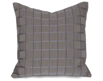 Brown Blue Lumbar Pillow, Taupe Throw Pillow, Pewter Pillow 14x20, Plaid Pillow Covers, Contemporary Masculine Pillows, Mens Home Decor