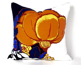 Cobalt Blue Orange  Pillow, Floral Throw Pillow Covers, Silhouette, Large Flower Pillow, Navy Blue Pillow, Coastal Home Decor, 18x18