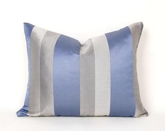 Blue Grey Pillows, Blue Pillow Covers, Blue Grey Striped Pillows, Metallic Cushions, 14x18 Lumbar, Contemporary Modern Decor