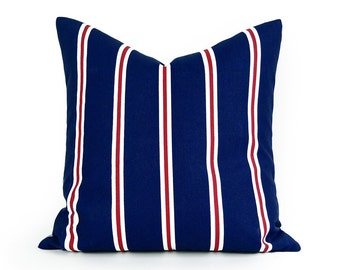 Blue Patio Pillows, Outside Pillow Covers, Blue Red White, Outdoor Cushions, Patio Decorative  Pillows, UV Rated 18x18