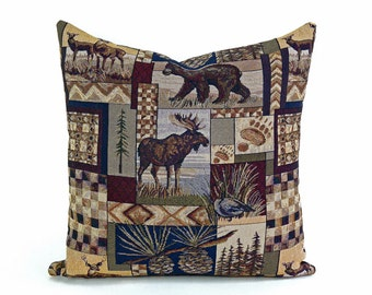 Wildlife Pillow Covers, Lake House Decorative Pillows, Rustic Lodge, Hunting Cabin Pillows, Moose, Bears, Deer, 14x20, 20x20