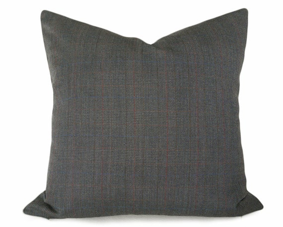 Grey Wool Pillow Covers Solid Grey Tweed by PillowThrowDecor