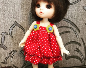 Red and white dot dot bubble dress for Lati Yellow  or Pukifee
