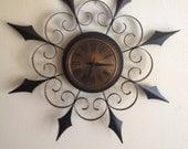 SALE!! G*O*R*G*E*O*U*S 1960s Rare Style ELGIN Retro Mad Men Wall Decor Starburst Wrought Iron Wall Clock