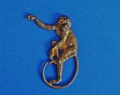 "Monkey Vintage Brass Metal Stamping 1 7/8 "" by  1 3/4 """