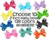 Bows for Babies, Set of 10 Baby Bows, 138 Colors, 2 Inch Bows, Mini Boutique Bows for Baby Girls, No Slip Baby Snap Clips, Infant Hair Bows