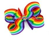 "Rainbow Hair Bow, Rainbow Boutique Bow, 3 inch Hair Bow for Girls, Preppy Rainbow Stripe, 3"" Rainbow Bow, Baby Toddler Girls, Brony Dash"