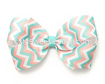 Chevron Hair Bow, 5 inch Hair Bow, Coral and Aqua Chevron Boutique Bow, Chevron Bow for Girls, Women, Toddlers, Summer Pastels Grosgrain Bow