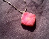 Pink Quartz Druzy Necklace on a Sterling Silver Chain