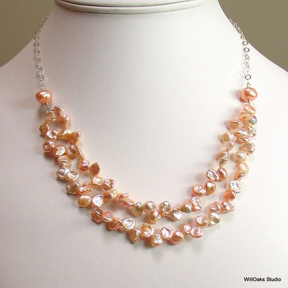 Keishi Pearl Bib Necklace, Natural Peach Keishi Petals and Sterling Silver, Rich Petal Bib Necklace, Deluxe Gift for Her, WillOaksStudio