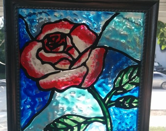 Hand Painted Stained Glass Sun Catcher Rose