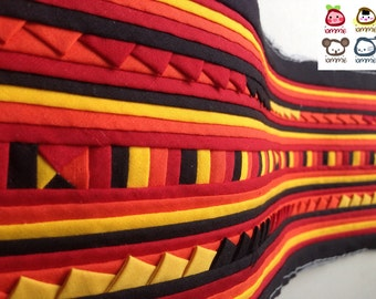 Hmong Textile, Lisu Fabric, hmong fabric, crafting, black, red, yellow,  hill tribe, quilted, embroidered, craft, fabric, stripe, quilt
