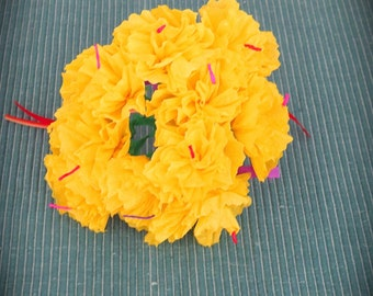 Day of the Dead YELLOW 10 MARIGOLDS Paper Flowers -  Vibrant and Necessary for your Altar
