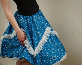 Blue and White extra Ruffles Full circle Vintage inspired Skirt