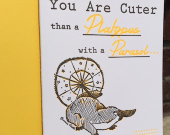Valentines Day - Letterpress Greeting Card - Platypus with a Parasol (single)
