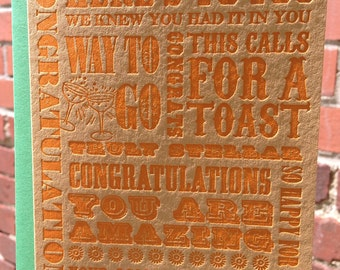 Letterpress Congratulations Card - *NEW* Wooden Type Collection (single)