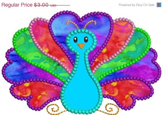 Sale off peacock bird applique machine by