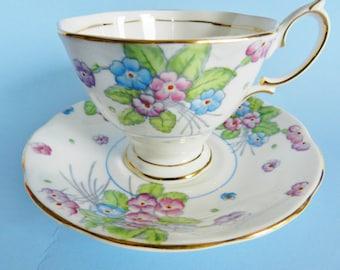 Royal Albert Teacup and Saucer, Royal Albert Tea Cup, Blue Floral Teacup, Vintage Royal Albert Teacup, no 66