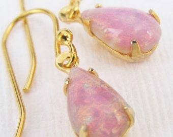 Gold Opal Earrings, Gold Teardrop Earrings, Pink Opals, Pink Fire Opals, Bridesmaid Earrings, Flower Girl's Earrings, Opal Jewelry