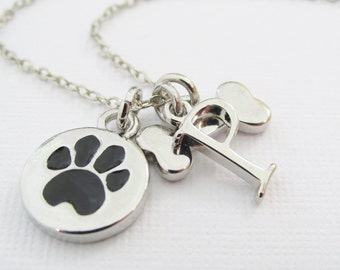 Pet Necklace, Personalized Pet Charm Necklace, Pet Initial Charm Necklace, Gift For Pet Lovers, Pet Dog, Dog Bone, Dog Paw, Gift For Her