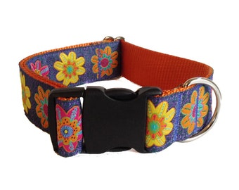 """Midnight Meadow Floral Wide Dog Collar 1.5"""" - Buckle or Martingale"""