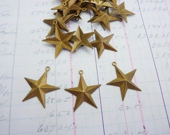 Vintage Brass Star Stamping with Loop Star Charm Small Brass Star (1)