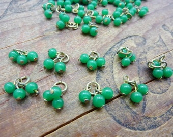 Vintage Bead Drop Dangle Green Beads Glass Bead Drop (20)