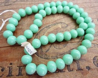 Vintage Glass Beads Japanese Mint Green 8mm Beads (50)