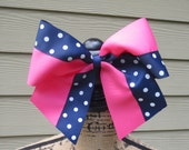 SALE.... Hot pink and Navy polka dot CHEER Bow.  Only one available .... Ready to ship