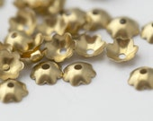 Raw Brass Curved Flower Scalloped Bead Caps 6mm (30)