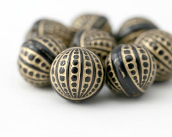 Acrylic Beads Black Gold Etched Bumpy Bubble Round 20mm (8)
