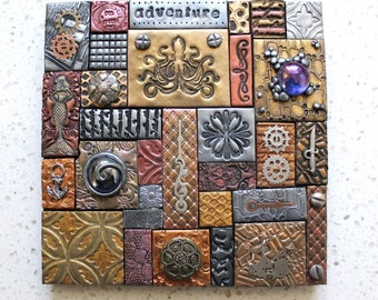 Polymer Clay Tile Mosaic Steampunk  6 x 6  Inch Assemblage Mixed Media