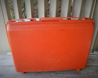 Orange Red Samsonite Hard Sided Suitcase