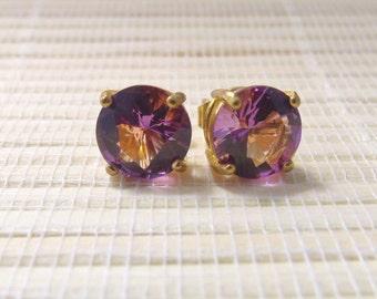 Cubic Zirconia Stud Goldplated Earrings Lab Amethyst 10mm On Sale