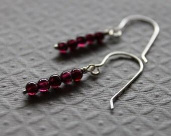 Sterling Garnet Necklace - Bar Earrings