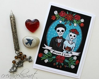 Day of the Dead Couple - 5x7 Art Card with Envelope