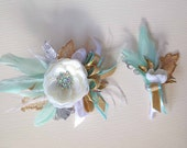 White, Gold and Mint Green Wrist Corsage & matching Boutonniere for your Homecoming Dance