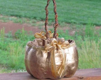 Large Gold Pumpkin Basket for your Fall Wedding