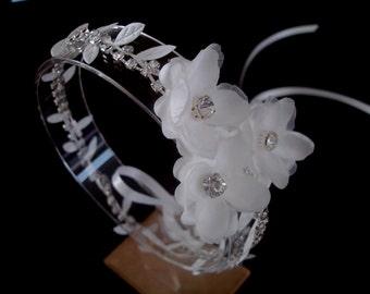 Flower Bridal Headband, Rhinestone Headband, Bridal Hair Accessories, Bridal Hairband, Rhinestone Hair Piece, Crystal Headband