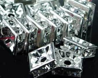 Silver Rhinestone Square Beads (30pc) 6mm (p019)