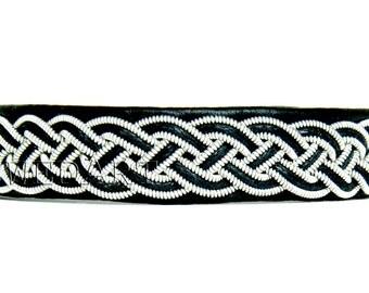 SwedArt B16 Cloudberry Lapland Sami Leather Bracelet-Pewter and Silver Braid-Antler Button-Black MEDIUM