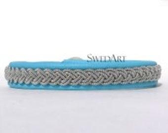 SwedArt B12 Sami Lapland Reindeer Leather Bracelet Antler Button Robin's Egg Blue XX-SMALL